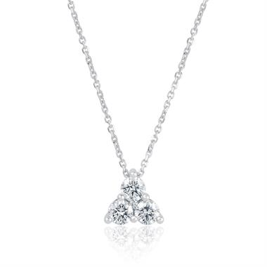 18ct White Gold Diamond Trefoil Design Necklace - Large 0.37ct thumbnail