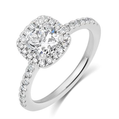 Platinum Cushion Shape 1.45ct Diamond Halo Ring thumbnail