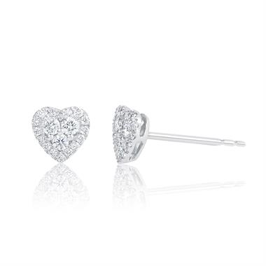 Adore 18ct White Gold Heart Design Diamond Stud Earrings 0.29ct thumbnail