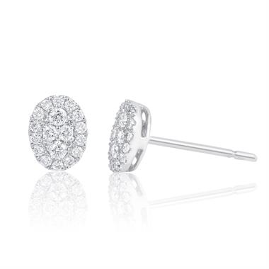Adore 18ct White Gold Oval Design Diamond Stud Earrings 0.29ct thumbnail
