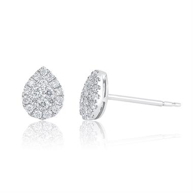 Adore 18ct White Gold Pear Design Diamond Stud Earrings 0.29ct thumbnail