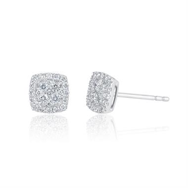 Adore 18ct White Gold Diamond Cushion Earrings thumbnail