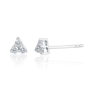 18ct White Gold Trefoil Design Diamond Stud Earrings 4.3mm thumbnail