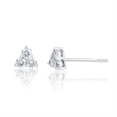 18ct White Gold Trefoil Design Diamond Stud Earrings 5.1mm thumbnail