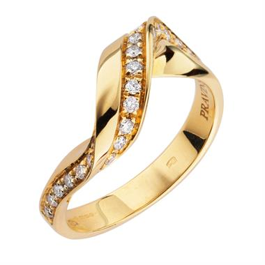 Flamenco 18ct Yellow Gold Diamond Twist Ring thumbnail