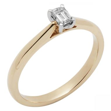 18ct Yellow Gold  0.40ct Emerald Cut Diamond Solitaire Ring thumbnail