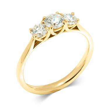 18ct Yellow Gold 0.80ct Diamond Three Stone Ring thumbnail