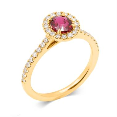 18ct Yellow Gold Oval Ruby and Diamond Halo Ring thumbnail