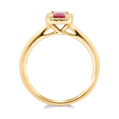 18ct Yellow Gold Octagon Cut Ruby and Diamond Halo Dress Ring thumbnail