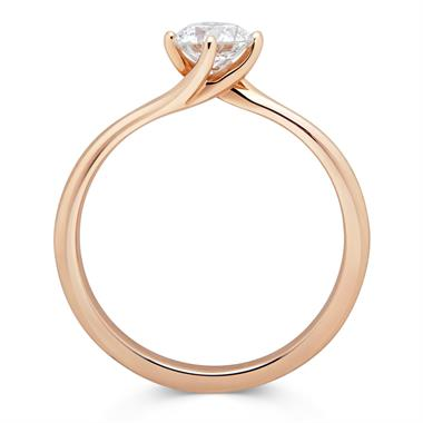 18ct Rose Gold Twist Design Diamond Solitaire Engagement Ring 0.50ct thumbnail