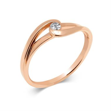 Mon Coeur 18ct Rose Gold Twist Design Diamond Dress Ring 0.08ct thumbnail