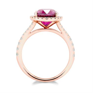 18ct Rose Gold Oval Rhodolite and Diamond Halo Dress Ring thumbnail
