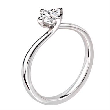 Platinum Princess Cut 0.45ct Diamond Twist Solitaire Ring thumbnail