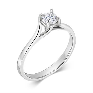 Platinum Twisted Claw Design Diamond Solitaire Engagement Ring 0.35ct thumbnail