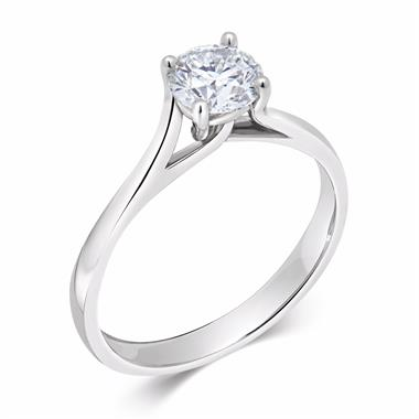 Platinum Twisted Claw Design Diamond Solitaire Engagement Ring 0.70ct thumbnail