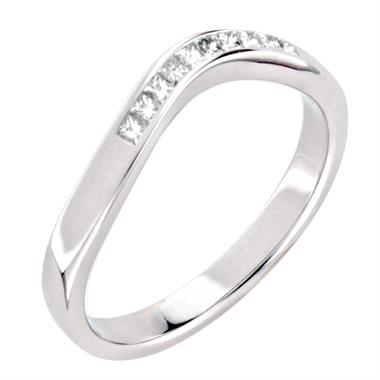 Platinum Princess Cut Diamond Shapped Wedding Ring thumbnail