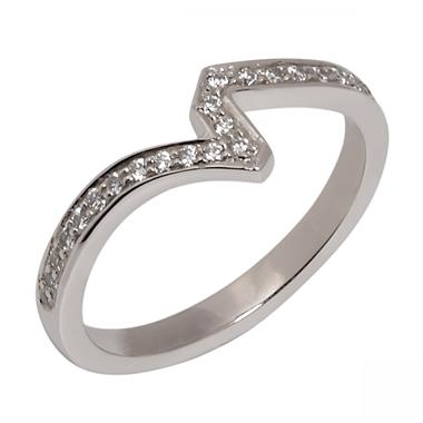 Platinum Diamond Channel Set Shaped Ring thumbnail