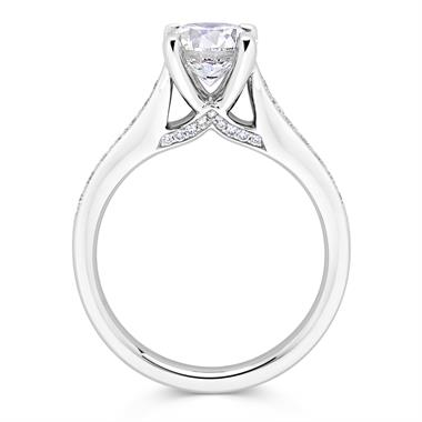 Platinum Bridge Detail Diamond Solitaire Engagement Ring 1.20ct thumbnail
