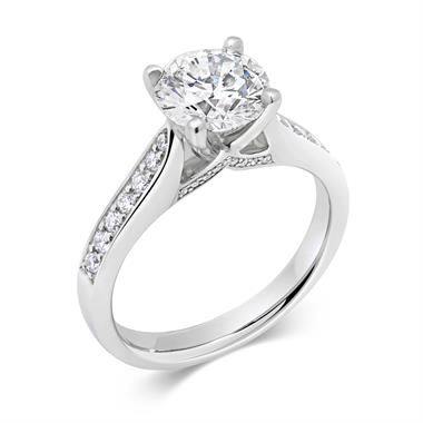 Platinum Bridge Detail Diamond Solitaire Engagement Ring 1.78ct thumbnail