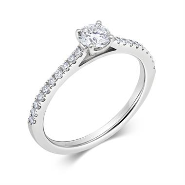 Platinum Diamond Solitaire Engagement Ring 0.53ct thumbnail