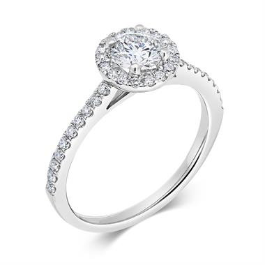 Platinum Diamond Halo Engagement Ring 0.85ct thumbnail