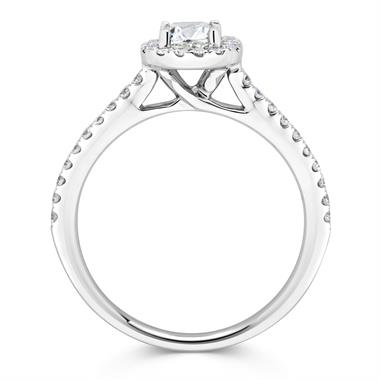 Platinum Vintage Inspired Cushion Cut 0.85ct Diamond Halo Ring thumbnail