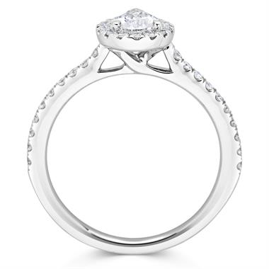 Platinum Pear Shape 0.85ct Diamond Halo Ring thumbnail