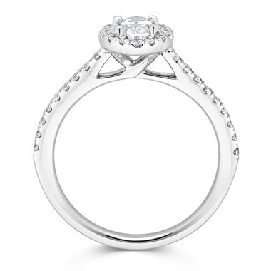 Platinum Oval Cut 0.85ct Diamond Halo Ring thumbnail