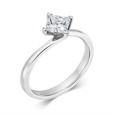 Platinum Twist Design Princess Cut Diamond Solitaire Engagement Ring 0.70ct thumbnail