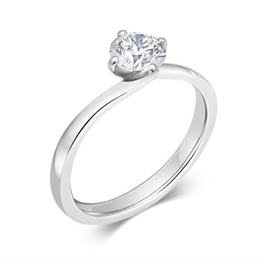 Platinum Twist Round 0.70ct Diamond Solitaire Ring thumbnail