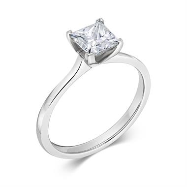 Platinum Princess Cut Diamond Solitaire Engagement Ring 1.00ct thumbnail