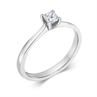 Platinum Tapered Princess Cut 0.25ct Diamond Solitaire Ring thumbnail