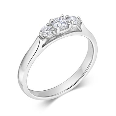 Platinum Diamond Three Stone Engagement Ring 0.33ct thumbnail