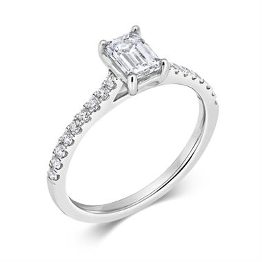 Platinum Emerald Cut Diamond Solitaire Engagement Ring 0.70ct thumbnail