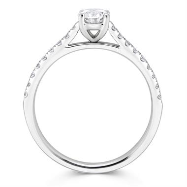 Platinum Oval Cut 0.75ct Solitaire Diamond Ring thumbnail