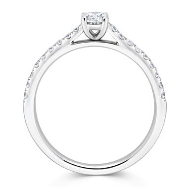 Platinum Oval Diamond Solitaire Engagement Ring 0.58ct thumbnail