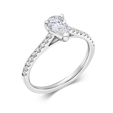 Platinum Pear Shape Diamond Solitaire Engagement Ring 0.75ct thumbnail