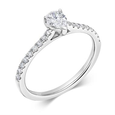 Platinum Pear Shape Diamond Solitaire Engagement Ring 0.53ct thumbnail