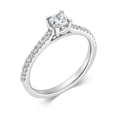 Platinum Cushion Cut Diamond Solitaire Engagement Ring 0.48ct thumbnail