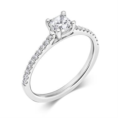 Platinum Cushion Cut Solitaire Diamond Ring thumbnail