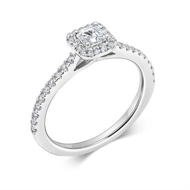 Platinum Asscher Cut 0.63ct Halo Diamond Ring thumbnail