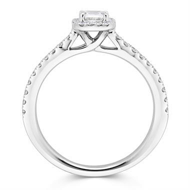 Platinum Asscher Cut Diamond Halo Engagement Ring 0.63ct thumbnail