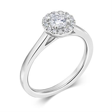 Platinum Diamond Halo Engagement Ring 0.48ct thumbnail