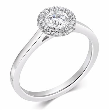 Platinum Round 0.69ct Diamond Castel Set Halo Ring thumbnail
