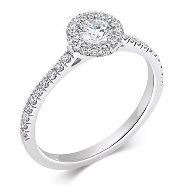 Platinum Diamond Castel Set Halo Engagement Ring 0.47ct thumbnail