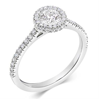 Platinum Round 0.77ct Diamond Castel Set Halo Ring thumbnail