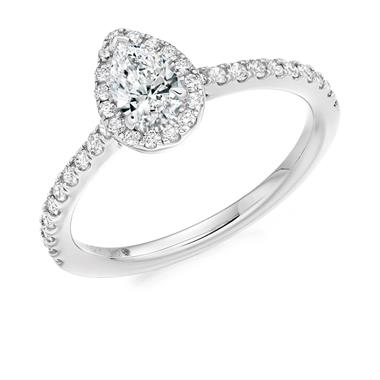 Platinum Pear Shape Diamond Halo Engagement Ring 0.60ct thumbnail