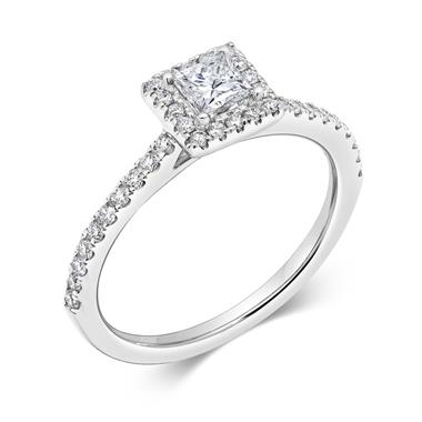 Platinum Square 0.60ct Diamond Halo Ring thumbnail