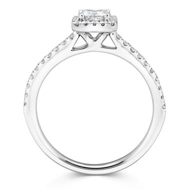 Platinum Princess Cut Diamond Halo Engagement Ring 0.60ct thumbnail