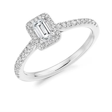 Platinum Emerald Cut Diamond Halo Engagement Ring 0.55ct thumbnail